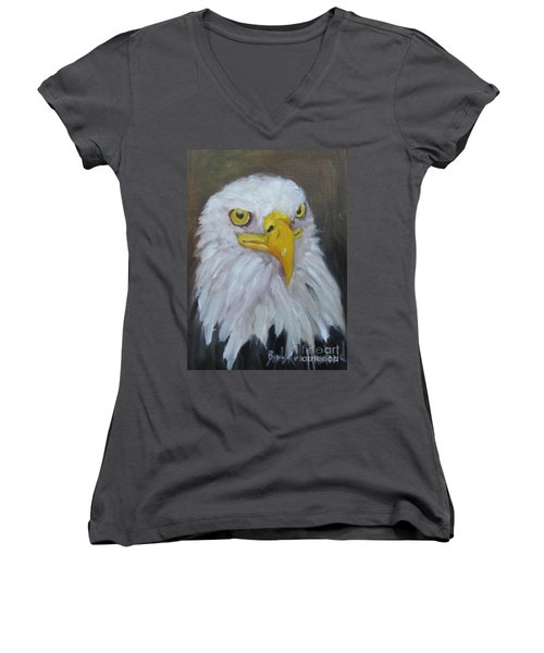 Bald Eagle Women's V-Neck T-Shirt (Junior Cut)