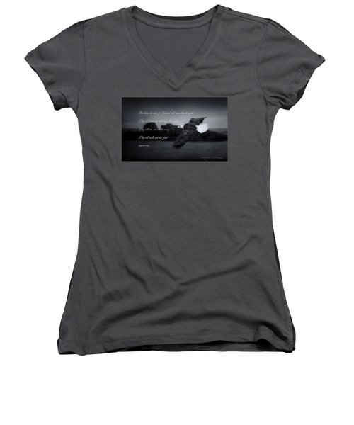 Women's V-Neck T-Shirt (Junior Cut) featuring the photograph Bald Eagle In Flight With Bible Verse by John A Rodriguez