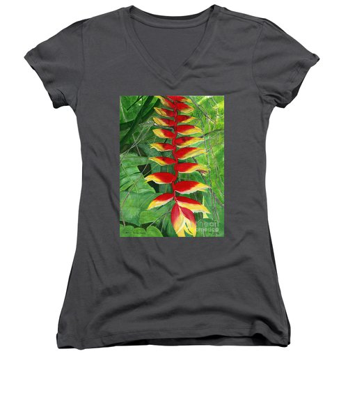 Women's V-Neck T-Shirt (Junior Cut) featuring the painting Balinese Heliconia Rostrata by Melly Terpening