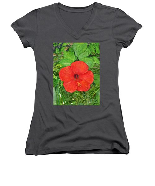 Women's V-Neck T-Shirt (Junior Cut) featuring the painting Balinese Hibiscus Rosa by Melly Terpening