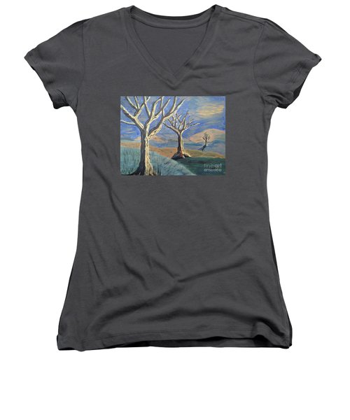 Women's V-Neck T-Shirt (Junior Cut) featuring the painting Bare Trees by Judy Via-Wolff