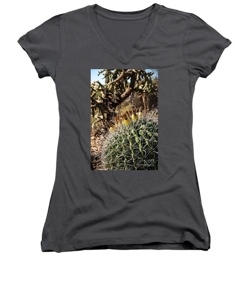 Women's V-Neck T-Shirt (Junior Cut) featuring the photograph Barrel Cactus by Lawrence Burry
