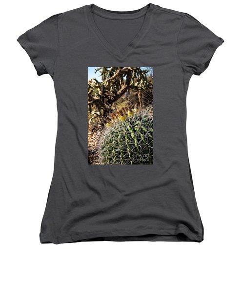 Barrel Cactus Women's V-Neck T-Shirt (Junior Cut) by Lawrence Burry