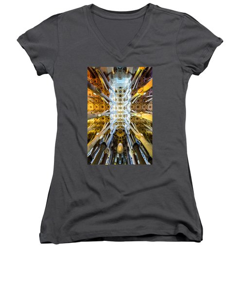 Basilica De La Sagrada Familia Women's V-Neck (Athletic Fit)