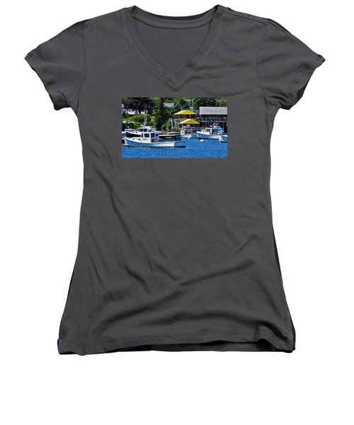 Bass Harbor Maine Women's V-Neck (Athletic Fit)