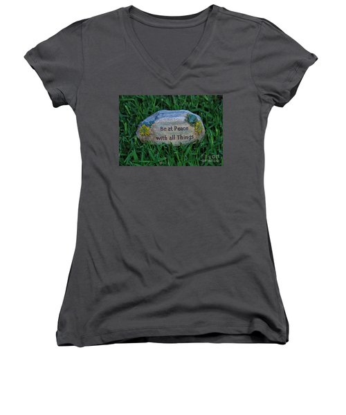 Women's V-Neck T-Shirt (Junior Cut) featuring the photograph 1- Be At Peace by Joseph Keane