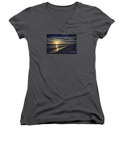 Beach Sunset 1021b Women's V-Neck T-Shirt (Junior Cut) by Walt Foegelle