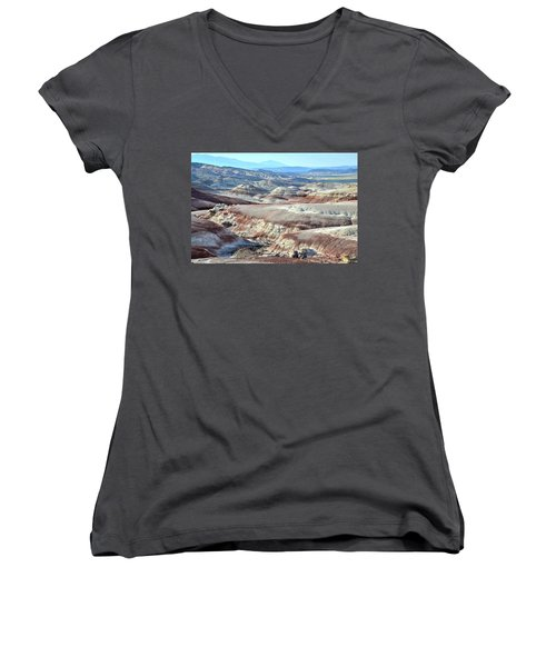 Bentonite Clay Dunes In Cathedral Valley Women's V-Neck T-Shirt