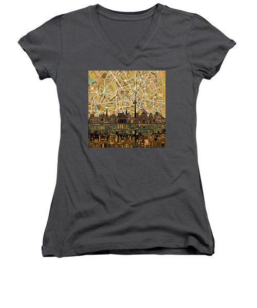Berlin City Skyline Abstract Women's V-Neck T-Shirt (Junior Cut) by Bekim Art