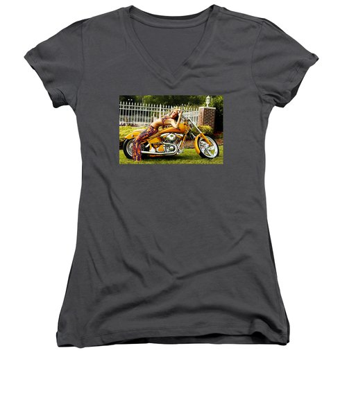 Bikes And Babes Women's V-Neck (Athletic Fit)
