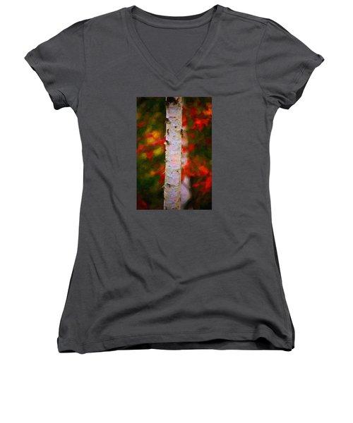 Birch Tree Women's V-Neck T-Shirt (Junior Cut) by Andre Faubert