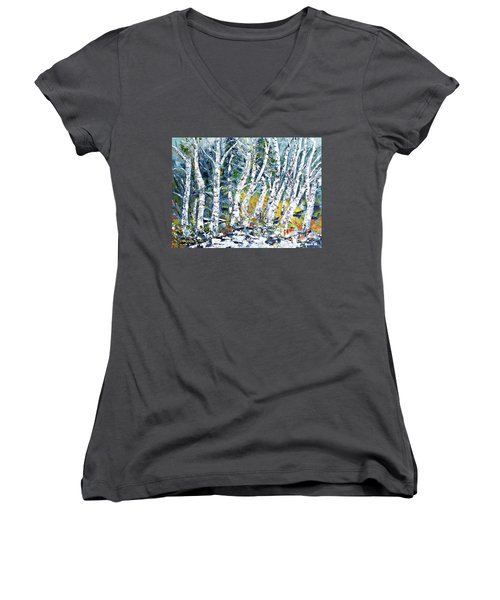 Women's V-Neck T-Shirt (Junior Cut) featuring the painting Birches Pond by AmaS Art