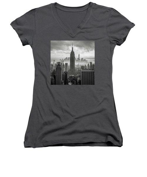Black And White Women's V-Neck T-Shirt