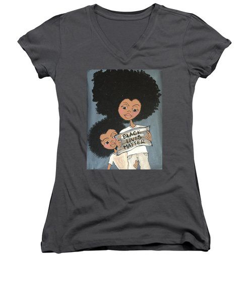 Black Lives Matter Women's V-Neck T-Shirt