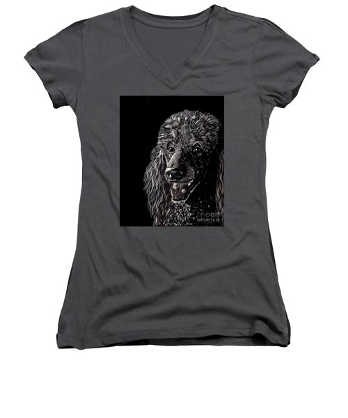 Black Standard Poodle Women's V-Neck T-Shirt