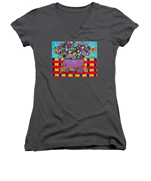 Women's V-Neck T-Shirt (Junior Cut) featuring the painting Blooms by Pristine Cartera Turkus
