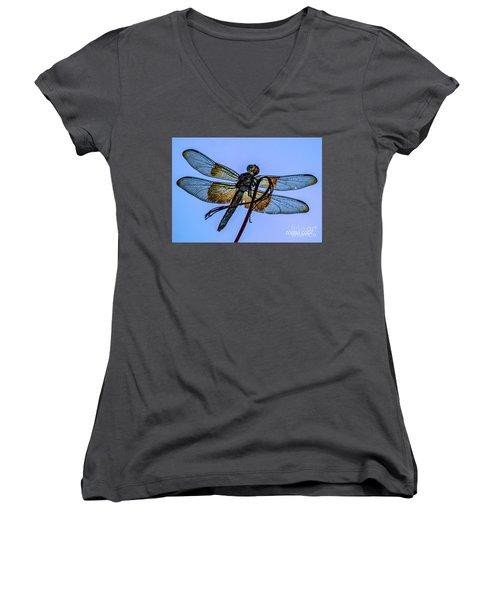 Blue Dragonfly Women's V-Neck T-Shirt (Junior Cut) by Toma Caul