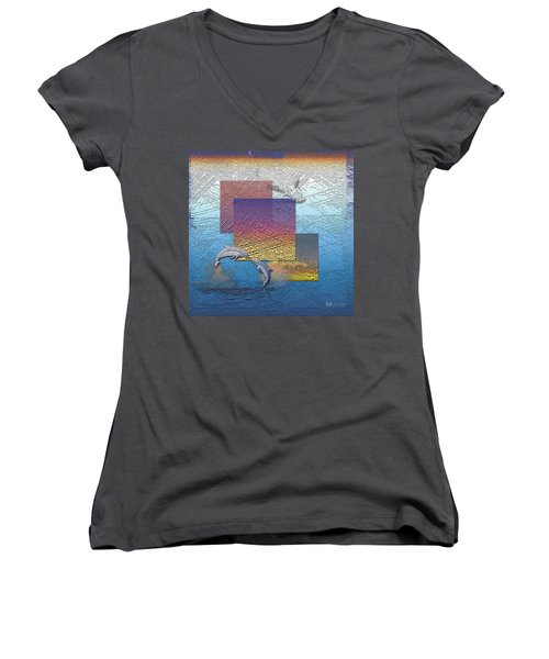 Blue Lagoon Sunrise  Women's V-Neck T-Shirt (Junior Cut) by Serge Averbukh