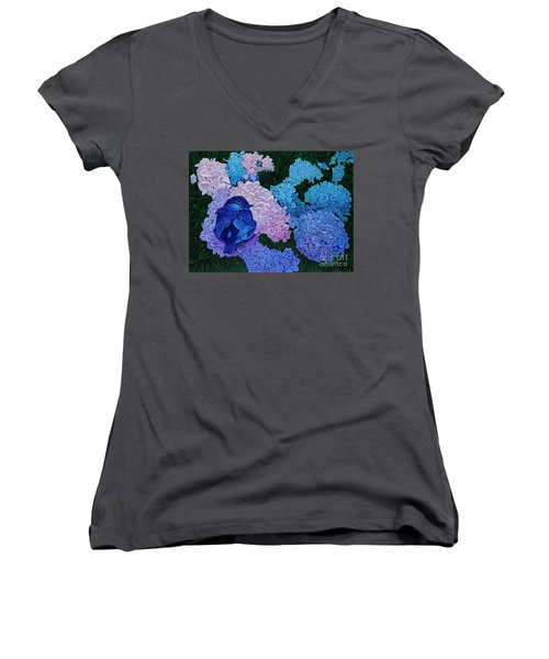 Women's V-Neck T-Shirt (Junior Cut) featuring the painting Bluebird by Michael Frank