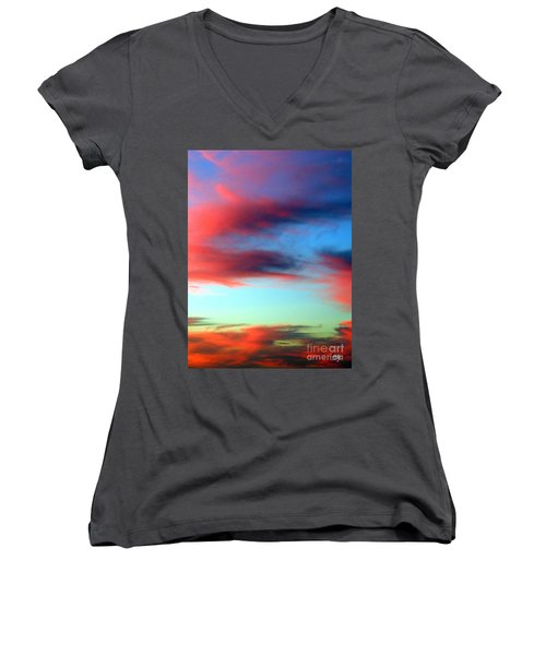 Women's V-Neck T-Shirt (Junior Cut) featuring the photograph Blushed Sky by Linda Hollis