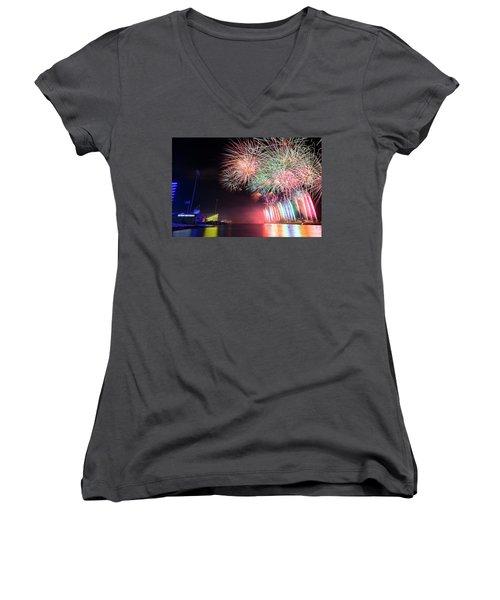 Boathouse Fireworks Women's V-Neck T-Shirt (Junior Cut)
