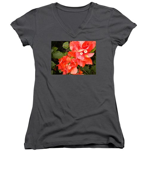 Bouganvilla 1 Women's V-Neck T-Shirt (Junior Cut) by Renate Nadi Wesley