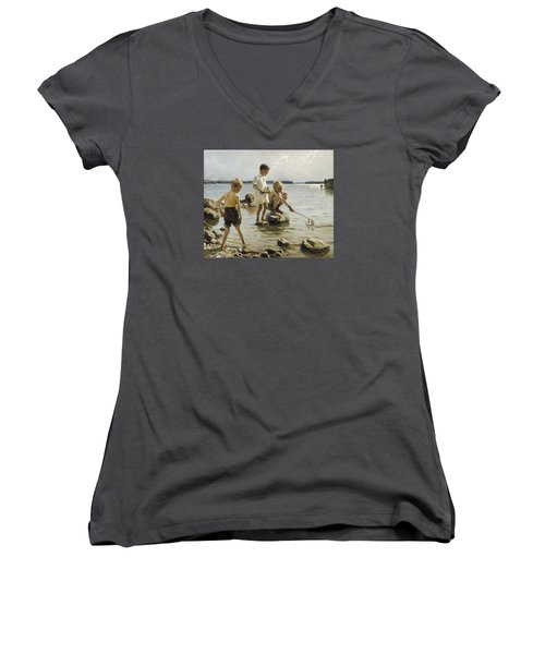 Boys Playing On The Shore Women's V-Neck T-Shirt (Junior Cut) by Albert Edelfelt