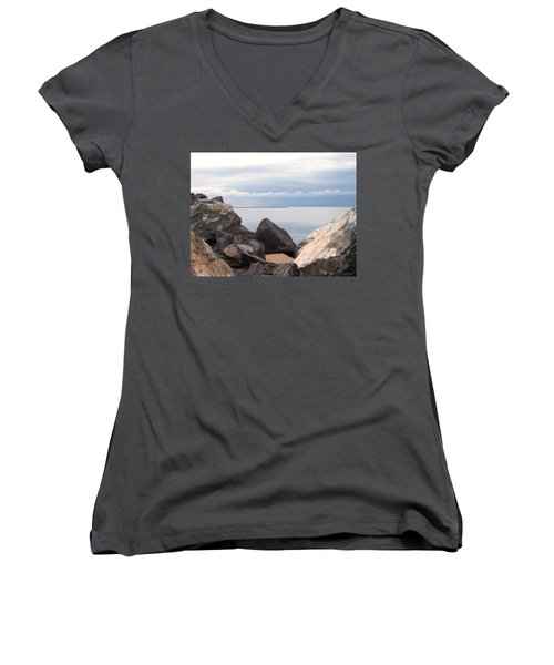 Break Wall On Lake Superior Women's V-Neck T-Shirt (Junior Cut) by Phil Perkins