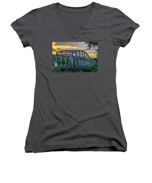 Women's V-Neck T-Shirt (Junior Cut) featuring the photograph Bridge by Jerry Cahill