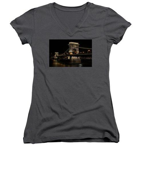 Budapest At Night. Women's V-Neck T-Shirt (Junior Cut) by Jaroslaw Blaminsky