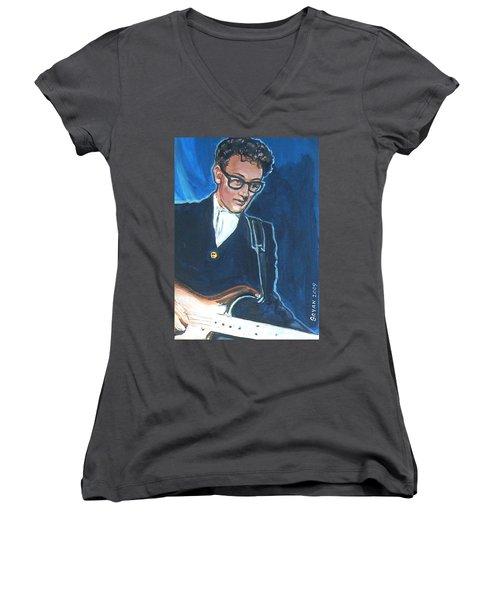 Buddy Holly Women's V-Neck T-Shirt (Junior Cut) by Bryan Bustard