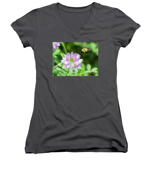 Bumble Bee Pollinating A Flower Women's V-Neck T-Shirt (Junior Cut) by Ricky L Jones