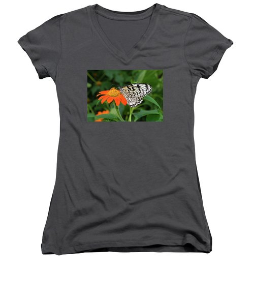 Butterfly On Flower Women's V-Neck T-Shirt (Junior Cut) by Hans Engbers