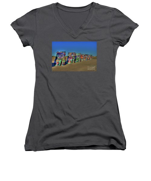 Cadillac Ranch 2 Women's V-Neck (Athletic Fit)