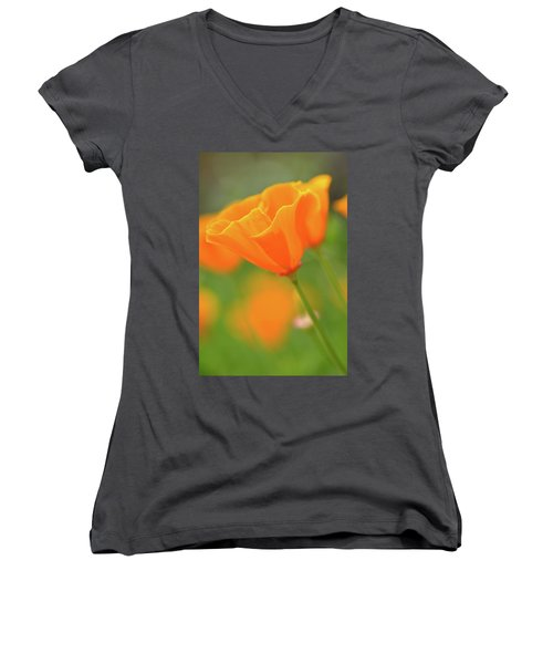 California Spring Poppy Macro Close Up Women's V-Neck T-Shirt