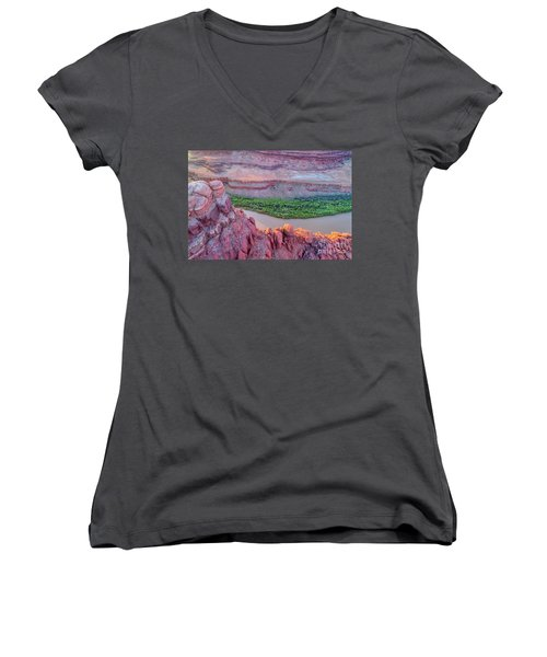 Canyon Of Colorado River - Sunrise Aerial View Women's V-Neck T-Shirt