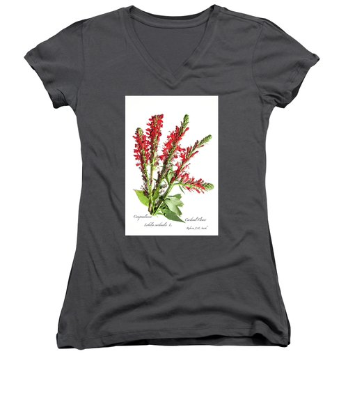 Cardinal Flower Women's V-Neck (Athletic Fit)