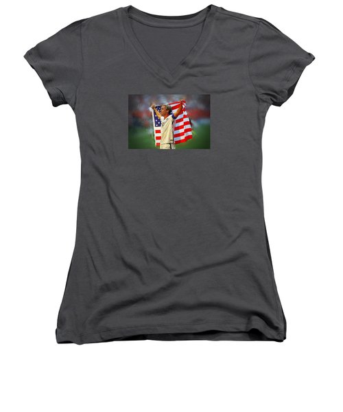 Carli Lloyd Women's V-Neck T-Shirt (Junior Cut) by Semih Yurdabak