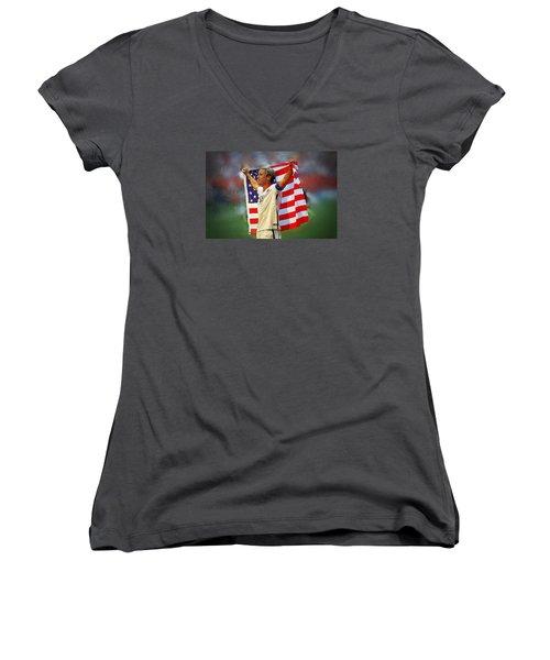 Carli Lloyd Women's V-Neck T-Shirt (Junior Cut)