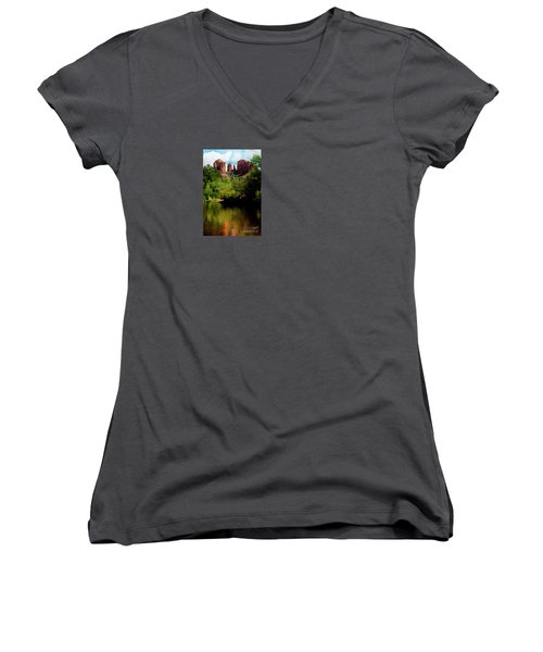 Women's V-Neck T-Shirt (Junior Cut) featuring the photograph Cathedral Rock by Ivete Basso Photography