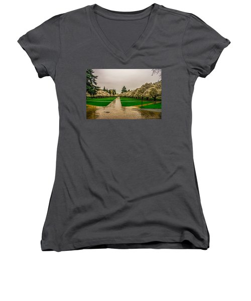 Women's V-Neck T-Shirt (Junior Cut) featuring the photograph Cherry Blossoms by Jerry Cahill