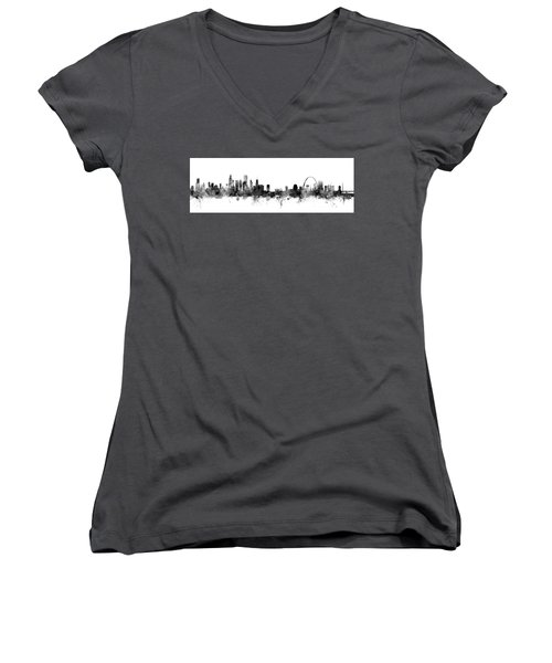 Chicago And St Louis Skyline Mashup Women's V-Neck T-Shirt (Junior Cut) by Michael Tompsett