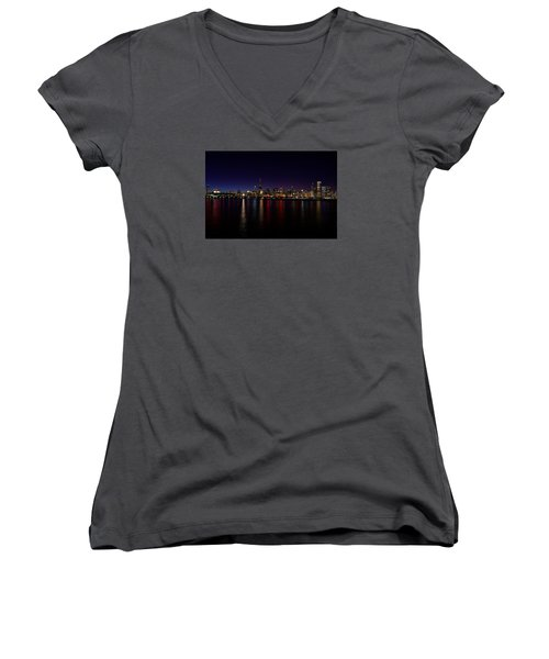 Women's V-Neck T-Shirt (Junior Cut) featuring the photograph Chicago-skyline by Richard Zentner