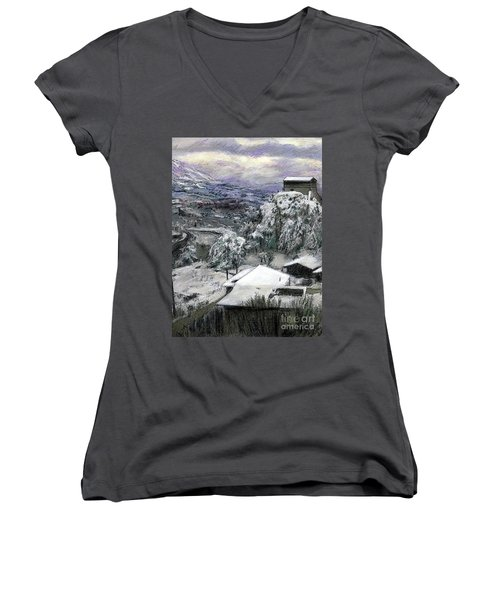 Chiesa San Vito In The Snow Women's V-Neck (Athletic Fit)