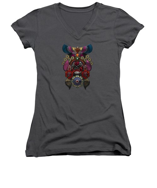 Chinese Masks - Large Masks Series - The Demon Women's V-Neck T-Shirt (Junior Cut) by Serge Averbukh