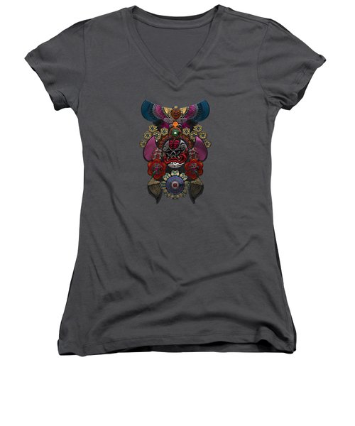 Chinese Masks - Large Masks Series - The Demon Women's V-Neck