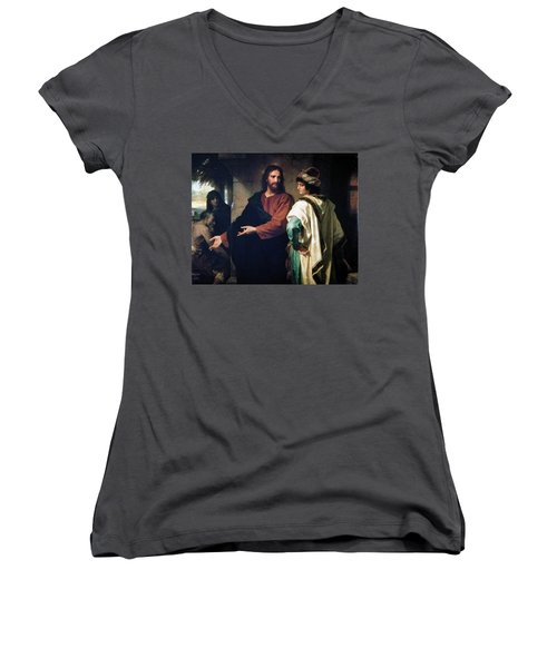 Christ And The Rich Young Ruler Women's V-Neck