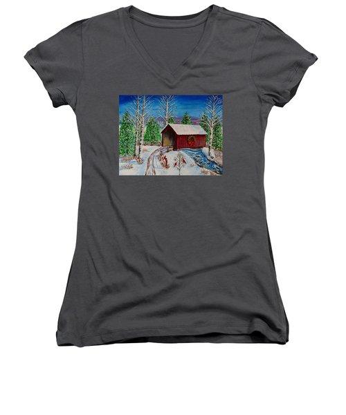 Christmas Bridge Women's V-Neck T-Shirt (Junior Cut) by Melvin Turner