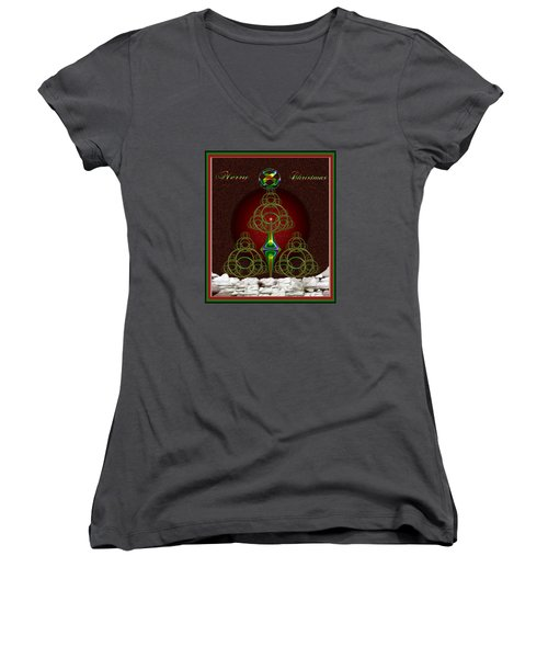 Christmas Greetings Women's V-Neck T-Shirt (Junior Cut) by Mario Carini