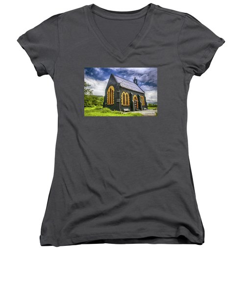 Women's V-Neck T-Shirt (Junior Cut) featuring the photograph Church by Charuhas Images